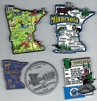 MINNESOTA  MN MAGNET ASSORTMENT 5 NEW  STATE SOUVENIRS including  ARTWOOD MAP