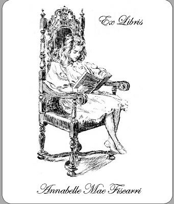 Personalized Ex Libris Bookplate Image shows a young girl reading. FREE Shipping