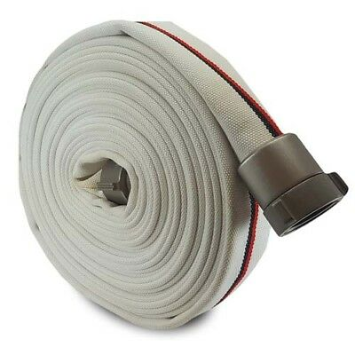 """White 1.5"""" x 50' Single Jacket Mill Hose with Aluminum NH Couplings"""