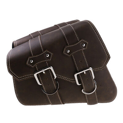 Motorcycle Leather Saddle Bag Storage Pouch Left&Right Trim Retro Brown