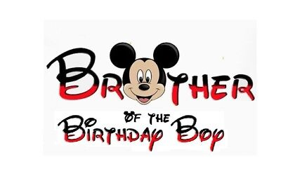 DISNEY MICKEY MOUSE Brother Of The Birthday Boyt Shirt Iron On