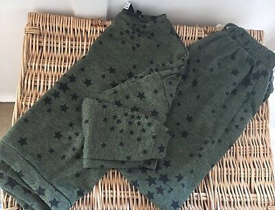 Girls Khaki Green Black Stars Tracksuit Top & Trousers Age 10-11 From NEW LOOK