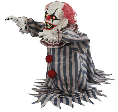 VIDEO! ANIMATED LUNGING JUMPING CLOWN Outdoor Halloween Decoration Prop CIRCUS