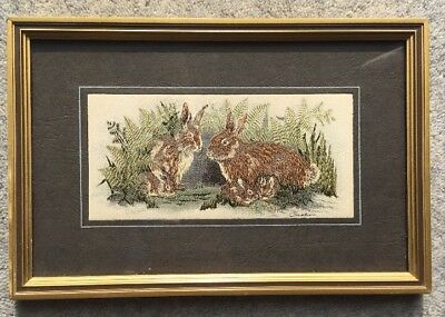 Cash's Woven Silk Picture: Rabbits: Framed/Glazed: c24x14cm