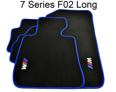 BMW 7 Series F02 Black Floor Mats Blue Rounds With ///M Logo Exclusive LHD NEW