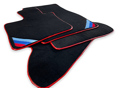Floor Mats For BMW X5 Series E70 Black Red Rounds With /// Power Emblem LHD NEW