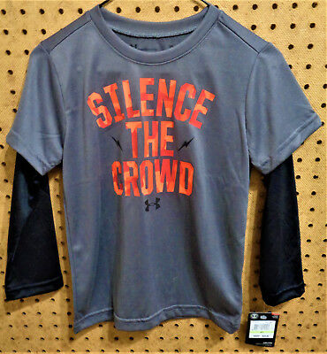NWT UNDER ARMOUR Youth Double Sleeve SILENCE THE CROWD Shirt Size 4T