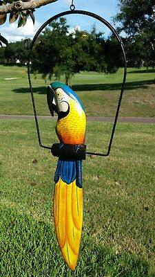 "Great Blue 19"" Handcarved & Painted Wood Hanging Parrott W/ Metal Perch & Hook!"