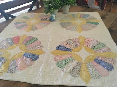 "Sunshine Cottage VINTAGE 30s Yellow TABLE or Crib QUILT 30"" Feedsacks"