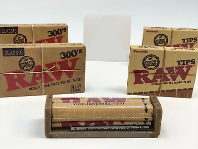 Bundle Combo - 2x RAW Classic 300's Papers + 2x Pre Rolled Tips + 79MM Roller