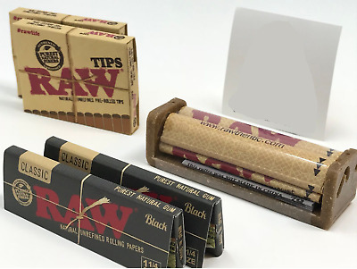 Bundle Combo - 2x RAW Classic Black 1 1/4  Papers + 2x Pre Rolled Tips + Roller