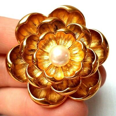 "Stunning Vintage Estate Signed Joan Rivers Flower Leaf 1 1/4"" Brooch!!! 1230A"