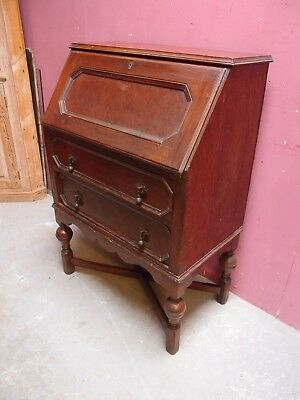SMALL CLASSIC ANTIQUE 1930's OAK BUREAU DESK LARGE WRITING SURFACE 2 DRAWERS