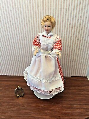 Dollhouse Miniature Artist Porcelain Blonde Lady Doll Red Checked Dress 1:12