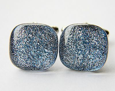 Genuine Dichroic Glass Hand Crafted Cufflinks - Silver Shimmer