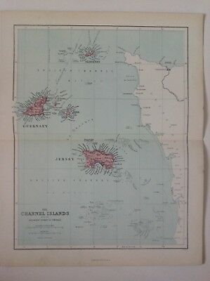 The Channel Islands, 1868 Antique Map, Hughes, Atlas