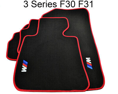 Floor Mats For BMW 3 Series F30 F31 Black Red Rounds With ///M Logo NEW