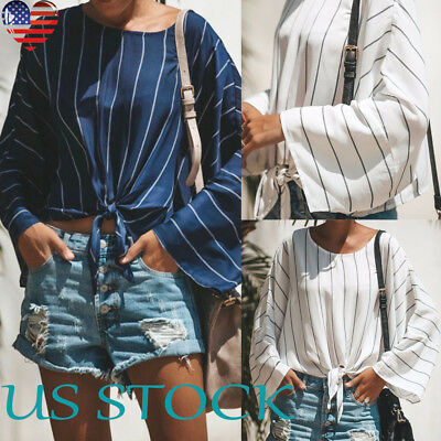 Women Long Sleeve Vertical Stripe Tops Loose O Neck Short Blouse Strappy T Shirt