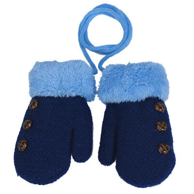 New Toddlers Girl/Boy Baby Kids Knitting Gloves Mittens Flower Winter Warm Blue
