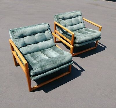 Pair of Mid Century Milo Baughman Thayer Coggin Oak Upholstered Scoop Chairs