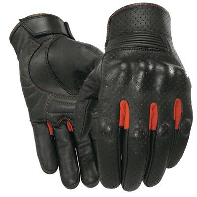 Black Motorcycle gloves hard knuckle vented leather motorbike clearance sale