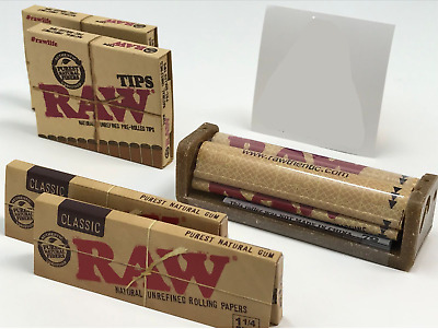 Bundle Combo - 2x RAW Classic 1 1/4 Papers + 2x Pre Rolled Tips + 79MM Roller