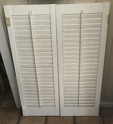 "Vintage Pair Wooden Window Shutters Architectural Salvage Screen 44"" X 16 1/2"""