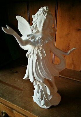 "Fairy Ceramic Bisque Angel UNPAINTED Approx 10"" tall ready to paint or glaze New"