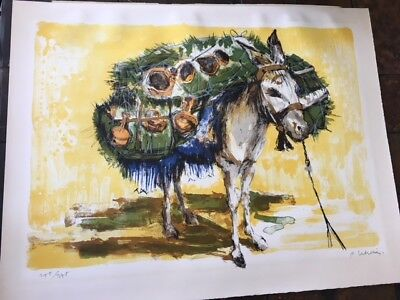 Old Mexico Spanish Style Burro listed artist Pierre Letellier lithograph art