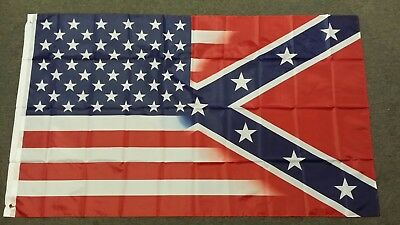 TRANSITION FLAG, half Conf Rebel, half USA, Dixie US 3 x 5 Poly flag