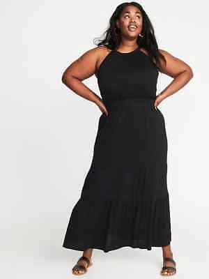 24a4908fb5f2 Old Navy Women's Plus Black Waist Defined Halter Tiered Maxi Dress Size 3X
