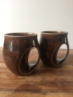 Holkham Pottery Chocolate Brown Mugs X 2