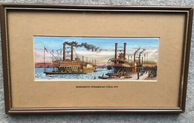 Cash's Woven Silk Picture:Mississippi Steamboat c1870: Frmd/ Glzd:c31x19cm.
