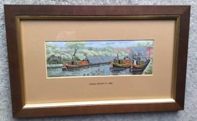 Cash's Woven Silk Picture: Canal Boats c1900: Framed/Glazed. c34x21cm