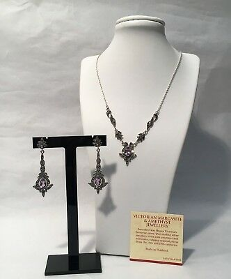 Victorian Style Marcasite & Amethyst 925 SS Necklace & Earrings from Past Times