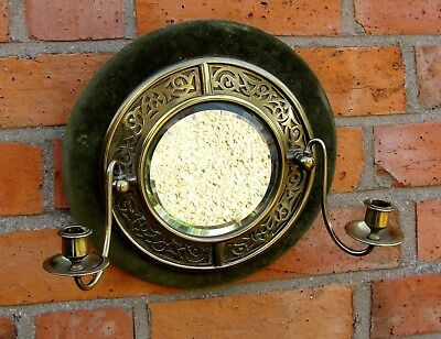 EARLY 1900s CIRCULAR WALL MIRROR with BRASS SURROUND & 2 CANDLE SCONCES in vgc