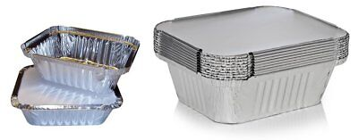 No1 ALUMINIUM FOIL FOOD CONTAINERS + LIDS PERFECT FOR HOME AND TAKEAWAY BAKE USE
