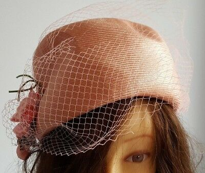 Connor pale peach pillbox hat with satin flower decoration and peach net