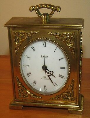Very Nice Quality Swiza 8 Day Small Brass Alarm Clock. Swiss Made