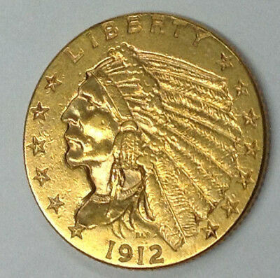 1912-P $2-1/2 Indian Gold Coin - High Grade Details With Cleaned Surfaces