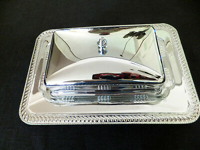 """Double butter dish with glass liner, silver-plated, 9""""x6""""x3""""  [875]"""