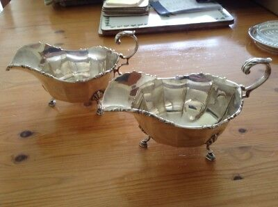 Superb Pair Of Solid Silver Sauce Boats