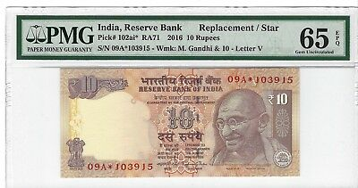 P-102ai* 2016 10 Rupees, India Reserve Bank, PMG 65EPQ Replacement/Star