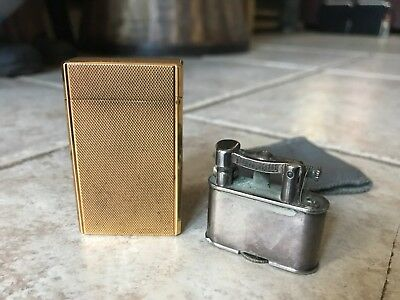 Pair Of High End Vintage Lighters- St Dupont Gold Plated And Late Deco Dunhill