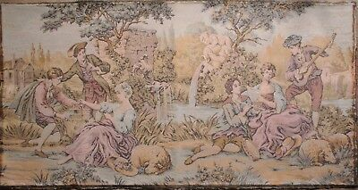 Vintage French Tapestry Lovers Music  Cherubs Garden 59 x 31 Wall Decoration