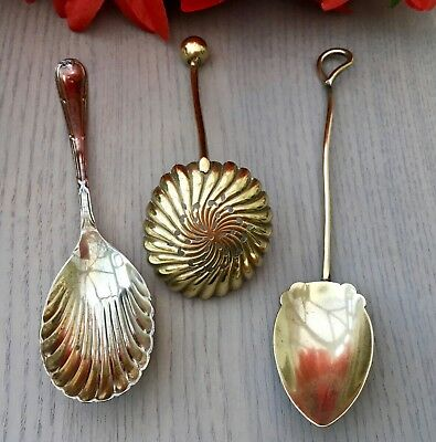 Antique Spoon Lot X3 - Potter Sheffield Shell Bowl - Sifter Ball End - Jam Spoon