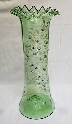 "Victorian Hand Blown & Painted Green Art Glass Enamel Floral Vase 12.75"" VGUC"