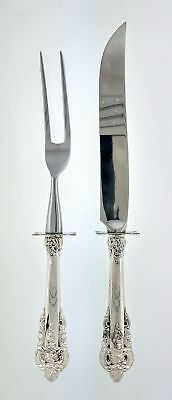Set Of 2 Wallace Grande Baroque Sterling Silver Roast Steak Carving Set No Mono