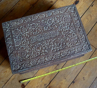 Big Antique Anglo Indian Carved Wood Vanity Chest Box Agra Police Inscribed