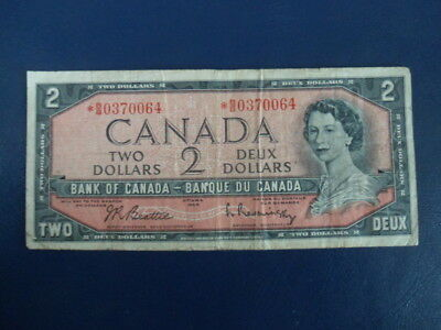 1954 Canada 2 Dollar Bank Note-Beattie/Ram-Replacement*BB0370064-Good-18-527